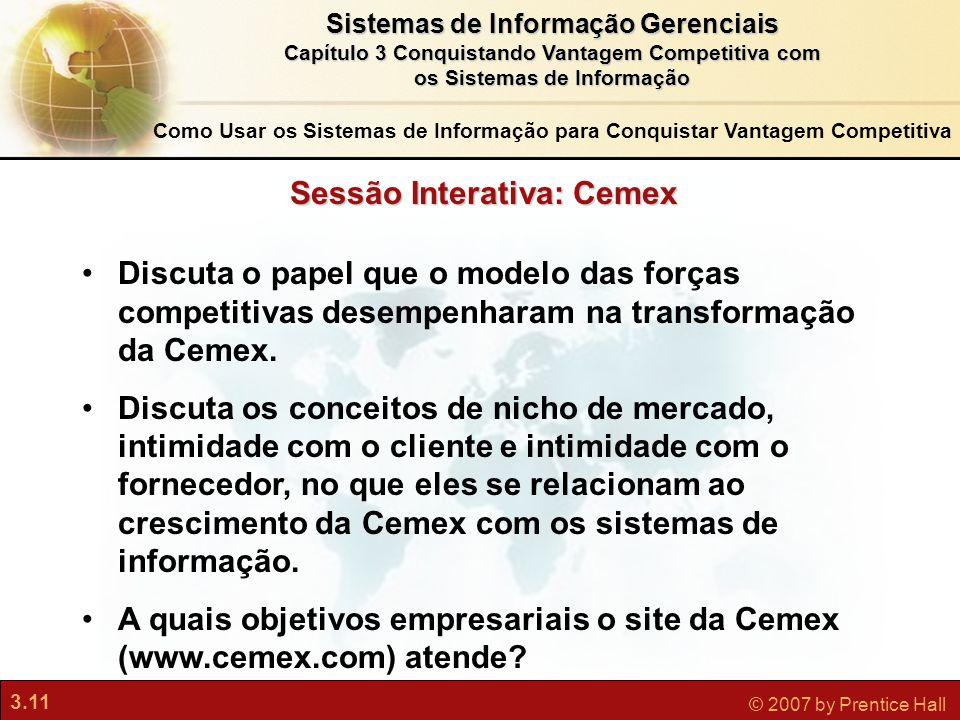 3.11 © 2007 by Prentice Hall Sistemas de Informação Gerenciais Capítulo 3 Conquistando Vantagem Competitiva com os Sistemas de Informação Sessão Inter
