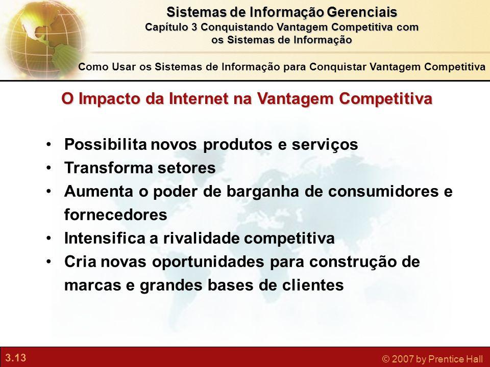 3.13 © 2007 by Prentice Hall Sistemas de Informação Gerenciais Capítulo 3 Conquistando Vantagem Competitiva com os Sistemas de Informação Possibilita