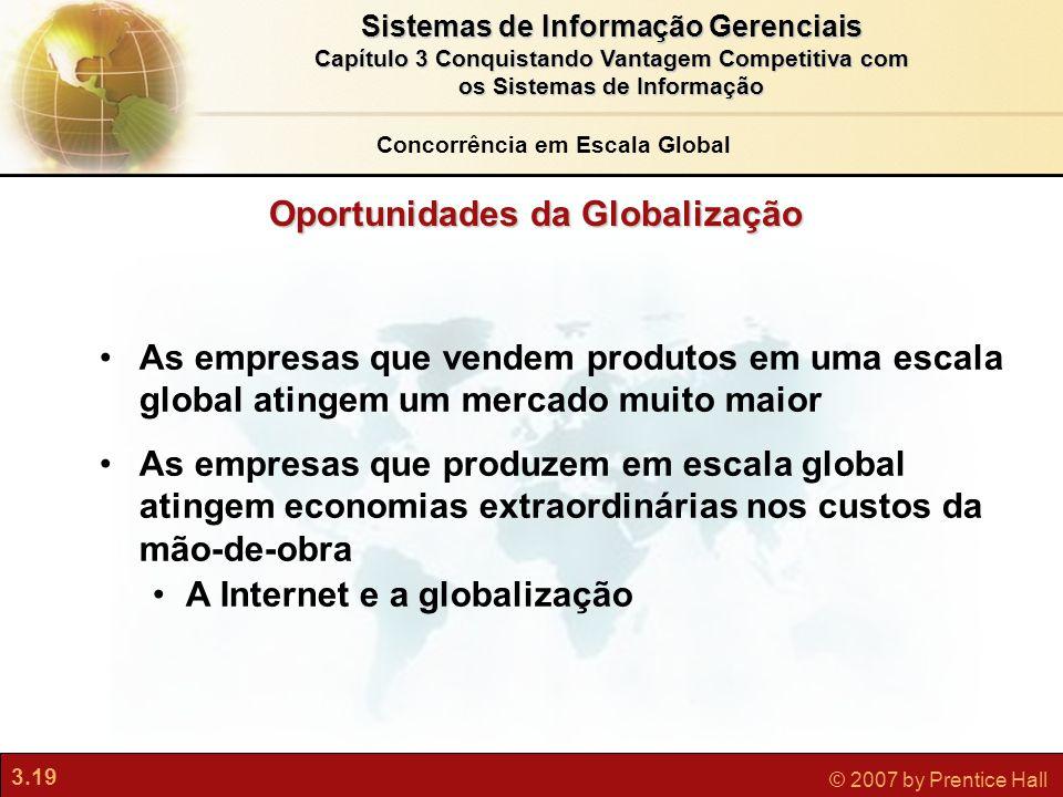 3.19 © 2007 by Prentice Hall Sistemas de Informação Gerenciais Capítulo 3 Conquistando Vantagem Competitiva com os Sistemas de Informação As empresas