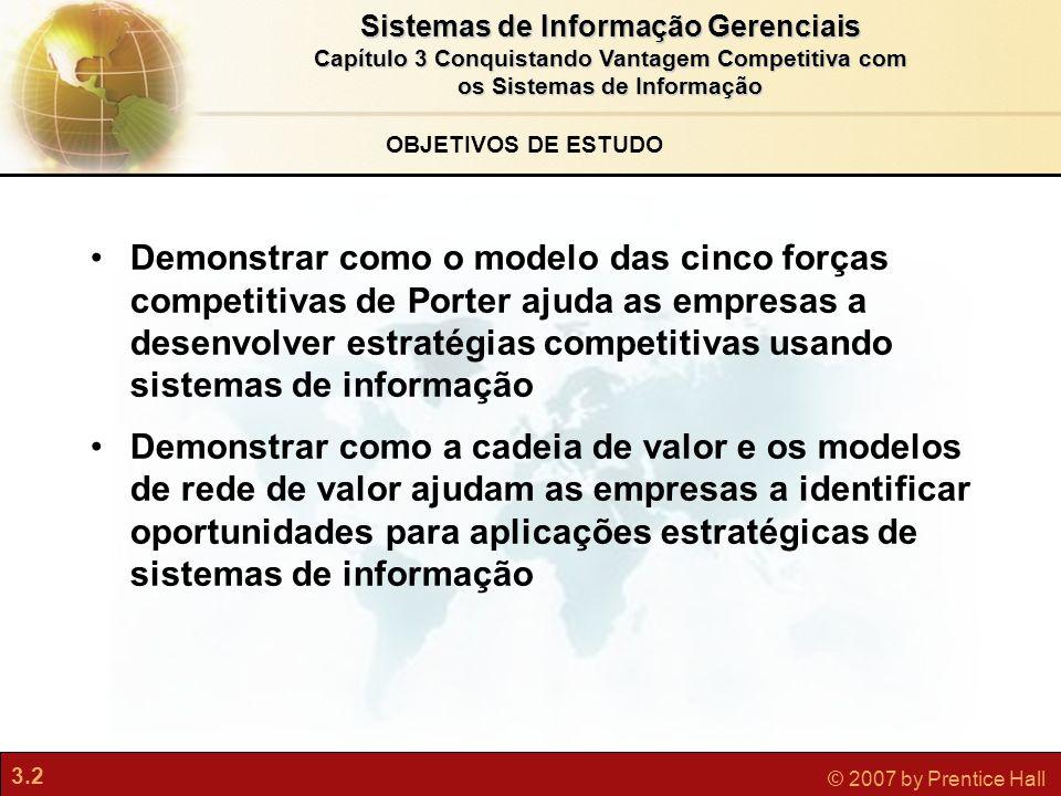 3.2 © 2007 by Prentice Hall Sistemas de Informação Gerenciais Capítulo 3 Conquistando Vantagem Competitiva com os Sistemas de Informação OBJETIVOS DE
