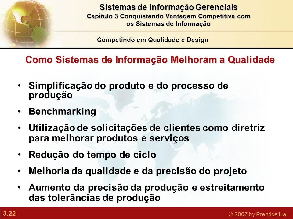 3.22 © 2007 by Prentice Hall Sistemas de Informação Gerenciais Capítulo 3 Conquistando Vantagem Competitiva com os Sistemas de Informação Simplificaçã