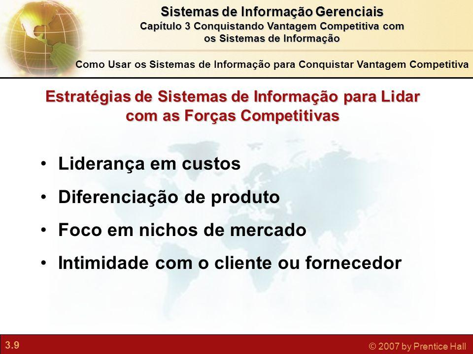 3.9 © 2007 by Prentice Hall Sistemas de Informação Gerenciais Capítulo 3 Conquistando Vantagem Competitiva com os Sistemas de Informação Estratégias d