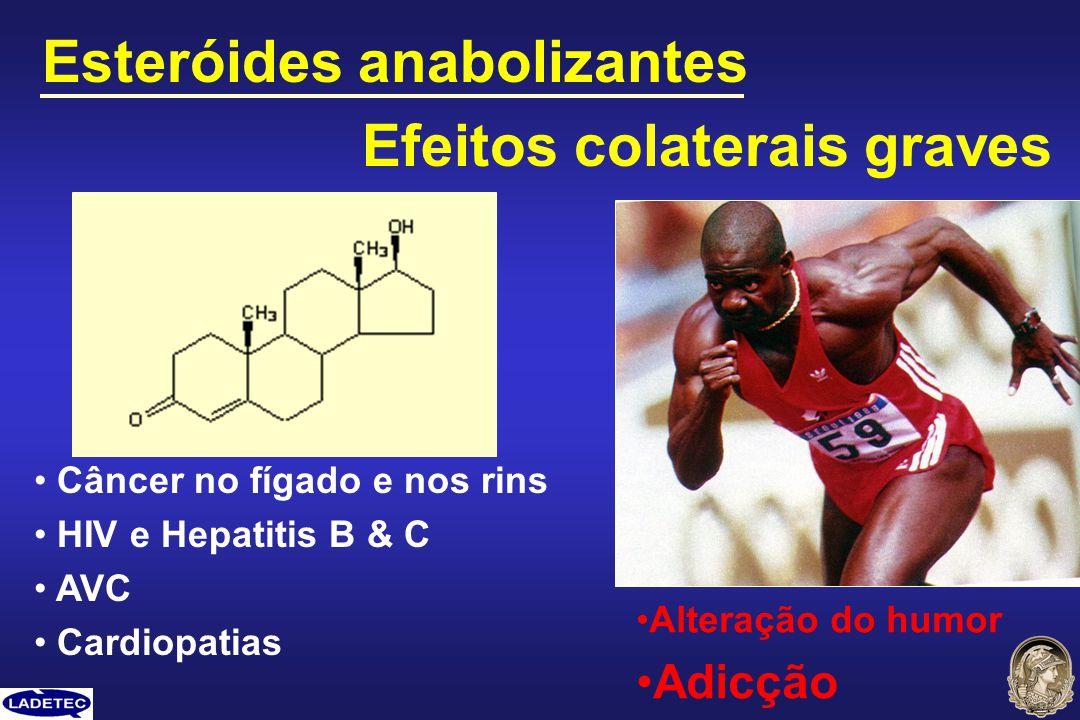 Esteróides anabolizantes Câncer no fígado e nos rins HIV e Hepatitis B & C AVC Cardiopatias Efeitos colaterais graves Alteração do humor Adicção
