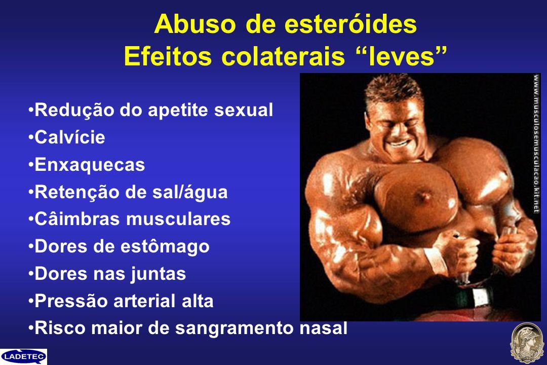 Redução do apetite sexual Calvície Enxaquecas Retenção de sal/água Câimbras musculares Dores de estômago Dores nas juntas Pressão arterial alta Risco