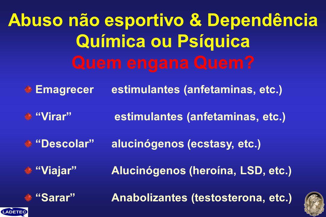 Abuso não esportivo & Dependência Química ou Psíquica Quem engana Quem? Emagrecerestimulantes (anfetaminas, etc.) Virar estimulantes (anfetaminas, etc