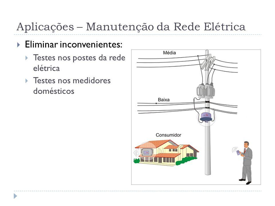 Aplicações – Manutenção da Rede Elétrica Eliminar inconvenientes: Testes nos postes da rede elétrica Testes nos medidores domésticos