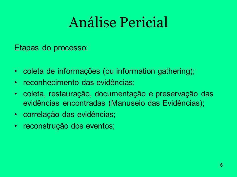 6 Análise Pericial Etapas do processo: coleta de informações (ou information gathering); reconhecimento das evidências; coleta, restauração, documenta
