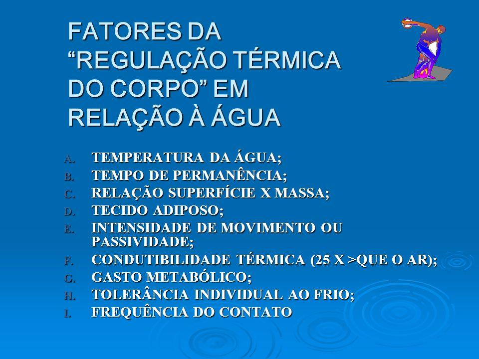 FATORES DA REGULAÇÃO TÉRMICA DO CORPO EM RELAÇÃO À ÁGUA A. TEMPERATURA DA ÁGUA; B. TEMPO DE PERMANÊNCIA; C. RELAÇÃO SUPERFÍCIE X MASSA; D. TECIDO ADIP