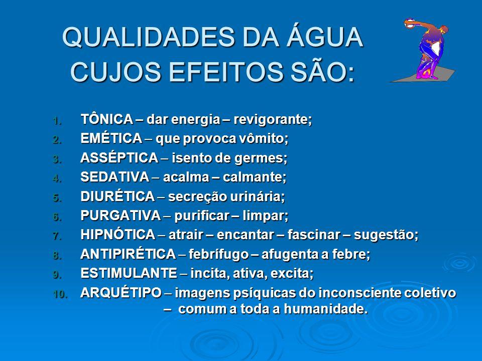 QUALIDADES DA ÁGUA CUJOS EFEITOS SÃO: 1. TÔNICA – dar energia – revigorante; 2. EMÉTICA – que provoca vômito; 3. ASSÉPTICA – isento de germes; 4. SEDA