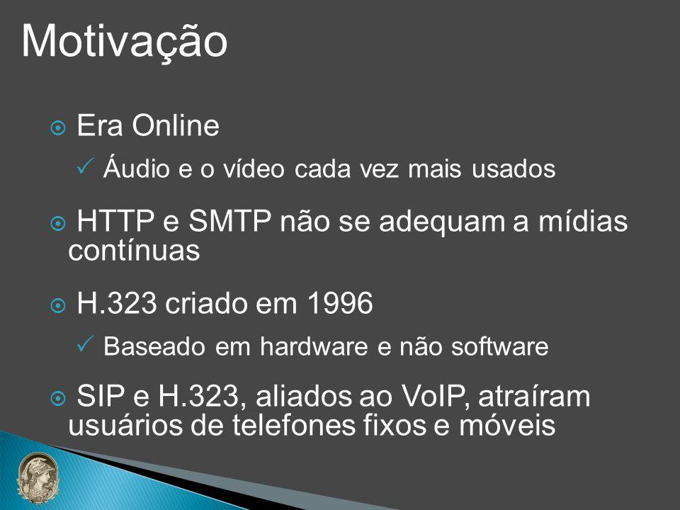 Era Online Áudio e o vídeo cada vez mais usados HTTP e SMTP não se adequam a mídias contínuas H.323 criado em 1996 Baseado em hardware e não software
