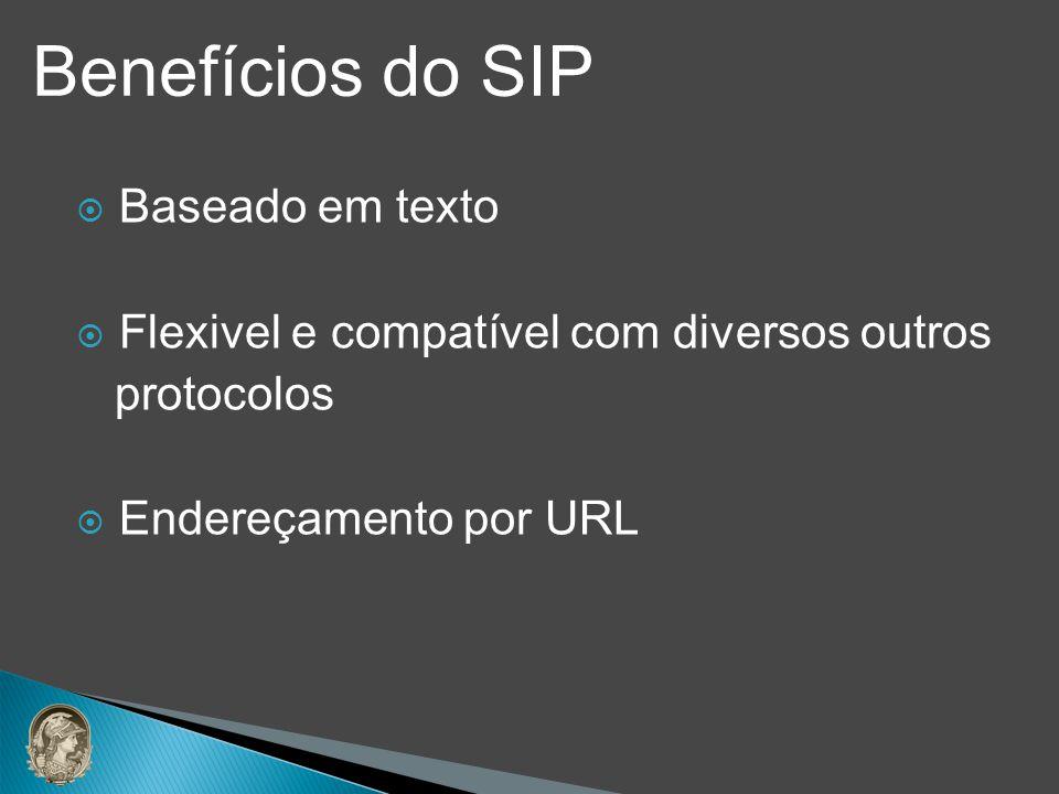 Baseado em texto Flexivel e compatível com diversos outros protocolos Endereçamento por URL Benefícios do SIP