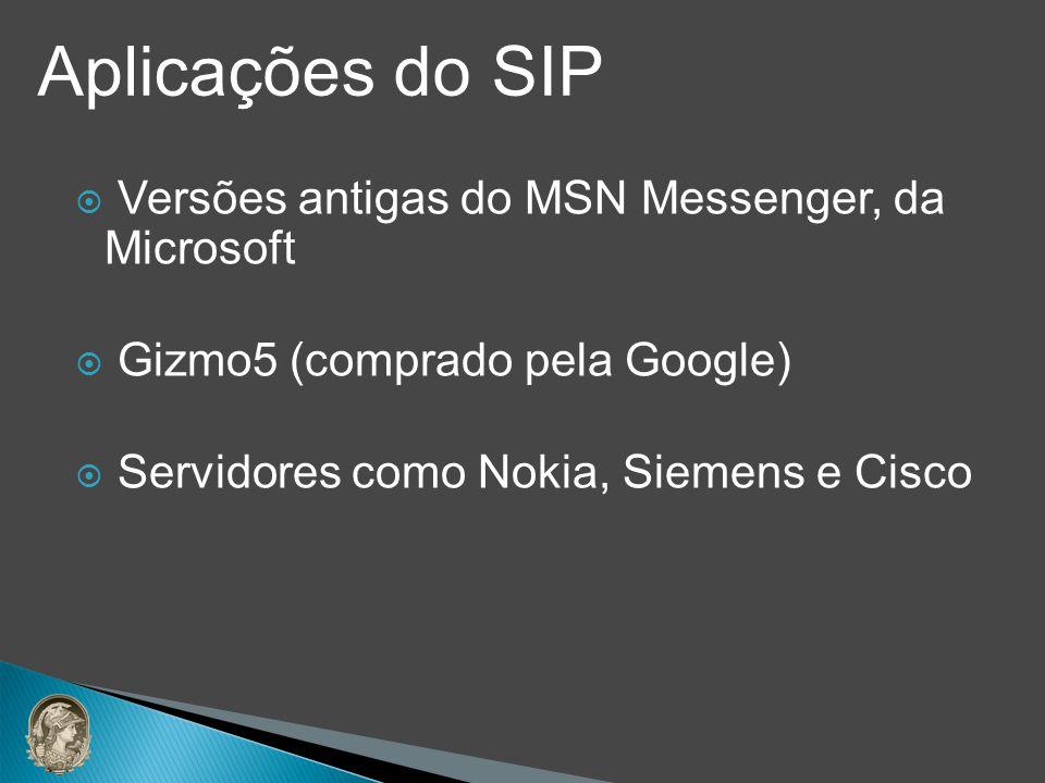 Versões antigas do MSN Messenger, da Microsoft Gizmo5 (comprado pela Google) Servidores como Nokia, Siemens e Cisco Aplicações do SIP