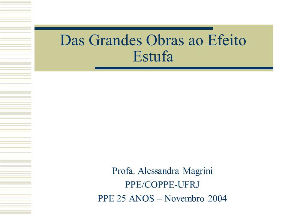 Das Grandes Obras ao Efeito Estufa Profa. Alessandra Magrini PPE/COPPE-UFRJ PPE 25 ANOS – Novembro 2004