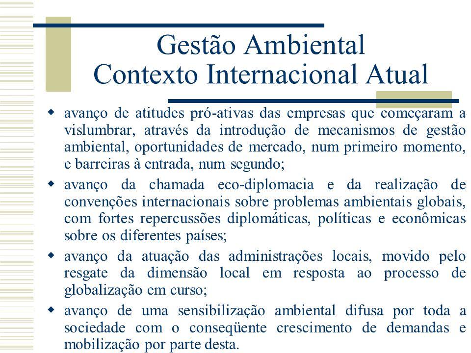 Gestão Ambiental Contexto Internacional Atual avanço de atitudes pró-ativas das empresas que começaram a vislumbrar, através da introdução de mecanism