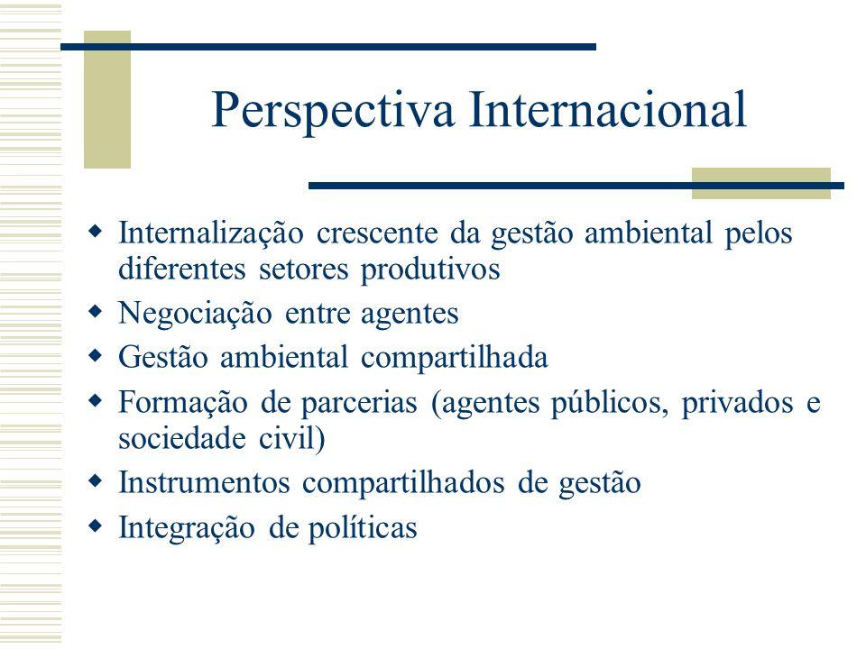 Perspectiva Internacional Internalização crescente da gestão ambiental pelos diferentes setores produtivos Negociação entre agentes Gestão ambiental c