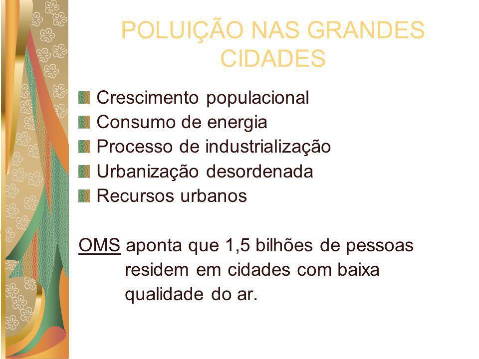 POLUIÇÃO NAS GRANDES CIDADES Crescimento populacional Consumo de energia Processo de industrialização Urbanização desordenada Recursos urbanos OMS apo