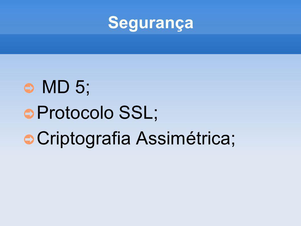 Segurança MD 5; Protocolo SSL; Criptografia Assimétrica;
