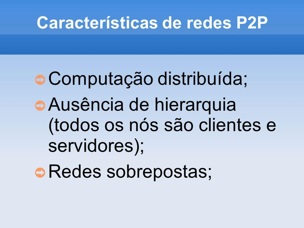 Características de redes P2P Computação distribuída; Ausência de hierarquia (todos os nós são clientes e servidores); Redes sobrepostas;
