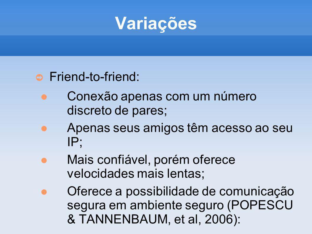 Variações Friend-to-friend: Conexão apenas com um número discreto de pares; Apenas seus amigos têm acesso ao seu IP; Mais confiável, porém oferece vel