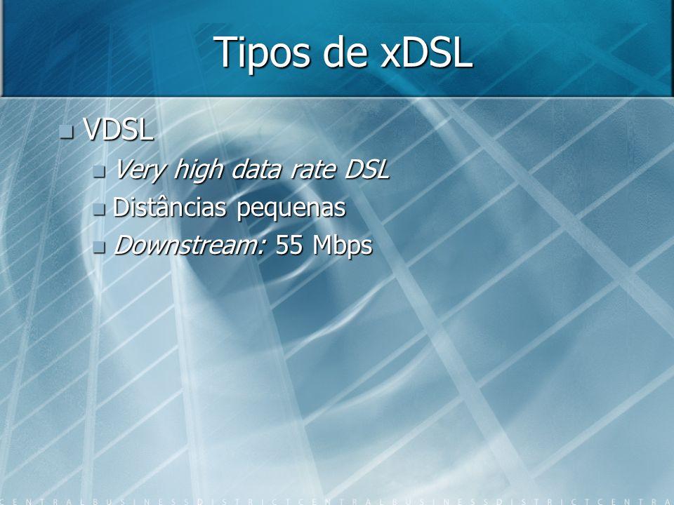 Tipos de xDSL VDSL VDSL Very high data rate DSL Very high data rate DSL Distâncias pequenas Distâncias pequenas Downstream: 55 Mbps Downstream: 55 Mbp
