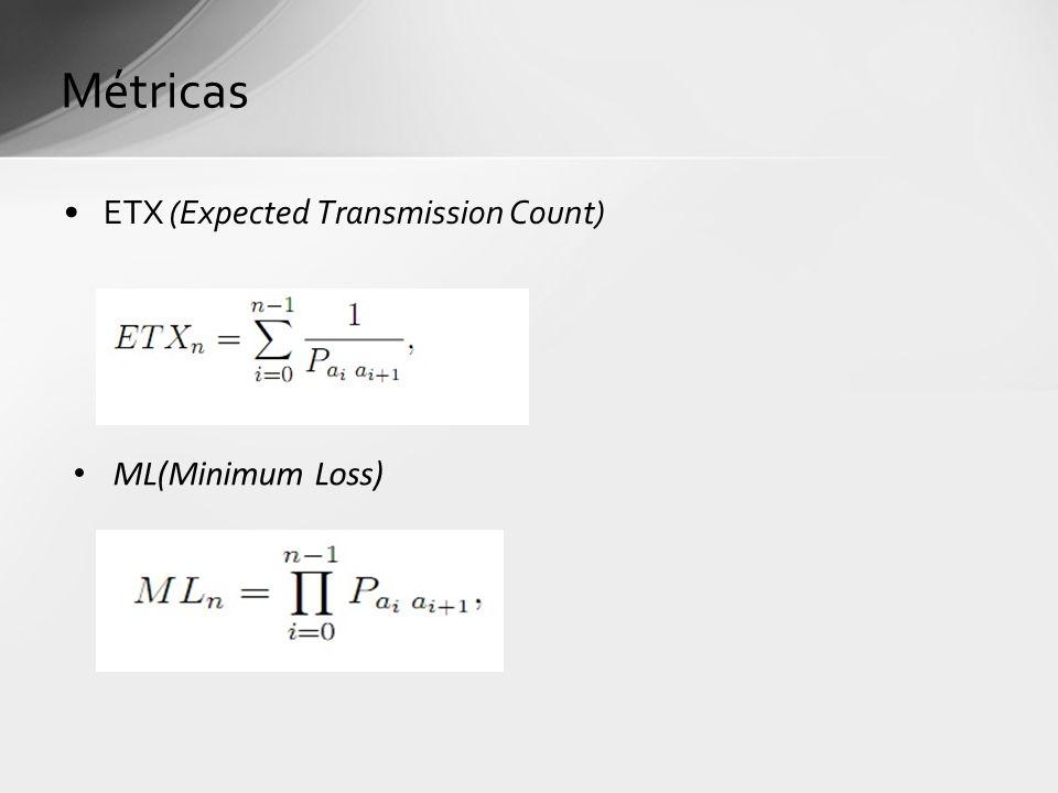 ETX (Expected Transmission Count) Métricas ML(Minimum Loss)