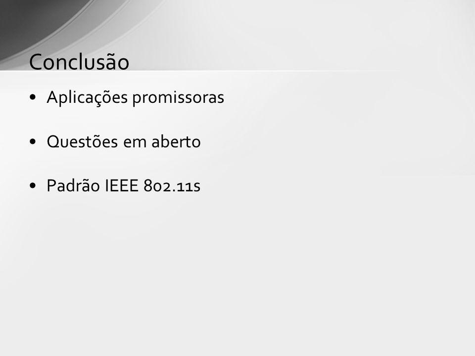 Aplicações promissoras Questões em aberto Padrão IEEE 802.11s Conclusão