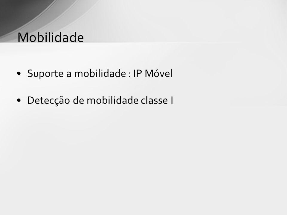 Suporte a mobilidade : IP Móvel Detecção de mobilidade classe I Mobilidade