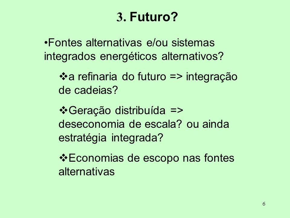 6 3. Futuro? Fontes alternativas e/ou sistemas integrados energéticos alternativos? a refinaria do futuro => integração de cadeias? Geração distribuíd