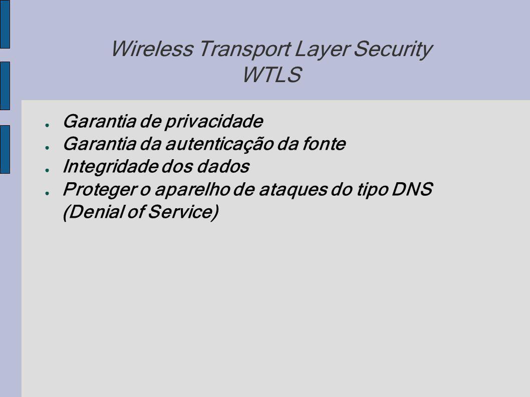 Wireless Transport Layer Security WTLS Garantia de privacidade Garantia da autenticação da fonte Integridade dos dados Proteger o aparelho de ataques