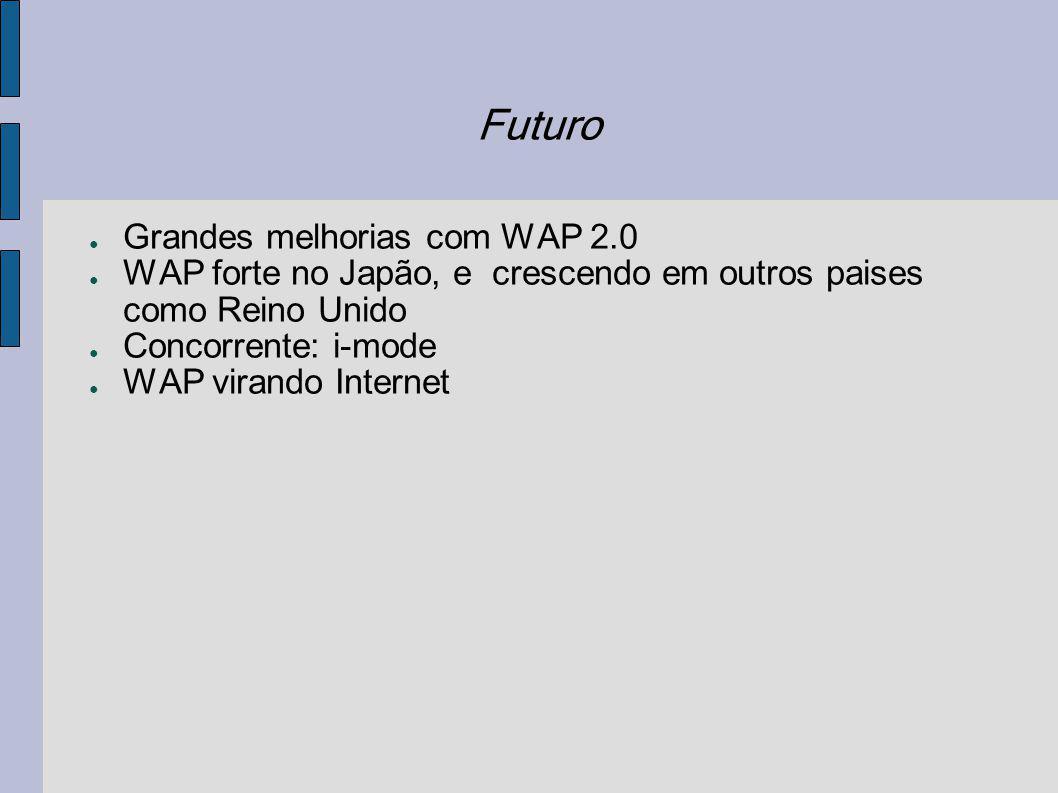 Futuro Grandes melhorias com WAP 2.0 WAP forte no Japão, e crescendo em outros paises como Reino Unido Concorrente: i-mode WAP virando Internet
