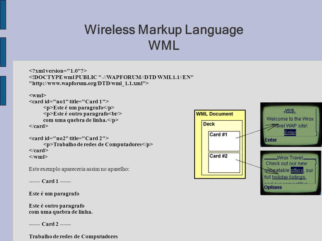 Wireless Markup Language WML Este é um paragrafo Este é outro paragrafo com uma quebra de linha. Trabalho de redes de Computadores Este exemplo aparec