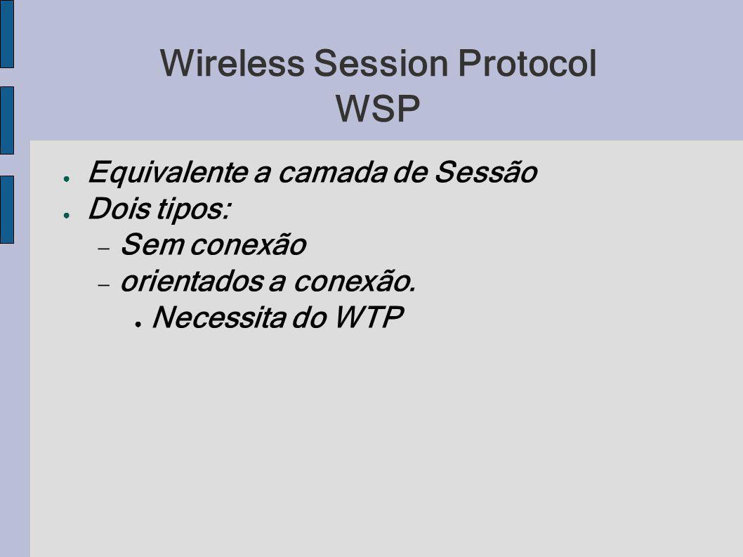 Wireless Session Protocol WSP Equivalente a camada de Sessão Dois tipos: Sem conexão orientados a conexão. Necessita do WTP