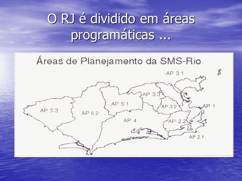 O RJ é dividido em áreas programáticas...