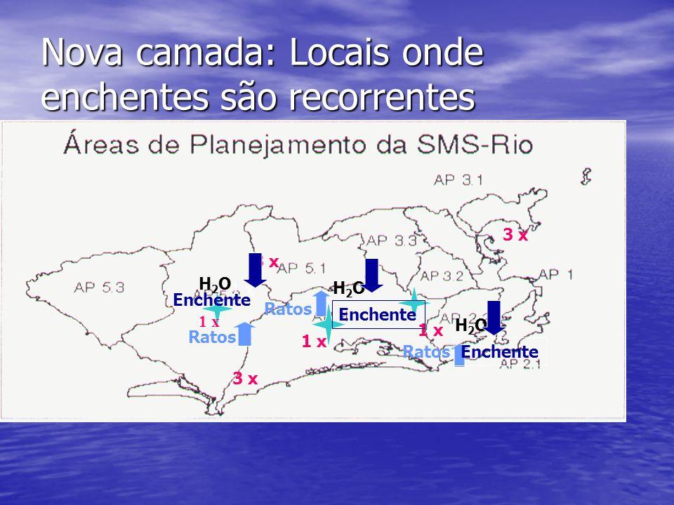 Nova camada: Locais onde enchentes são recorrentes 1 x 3 x Ratos H2OH2O H2OH2O H2OH2O Enchente