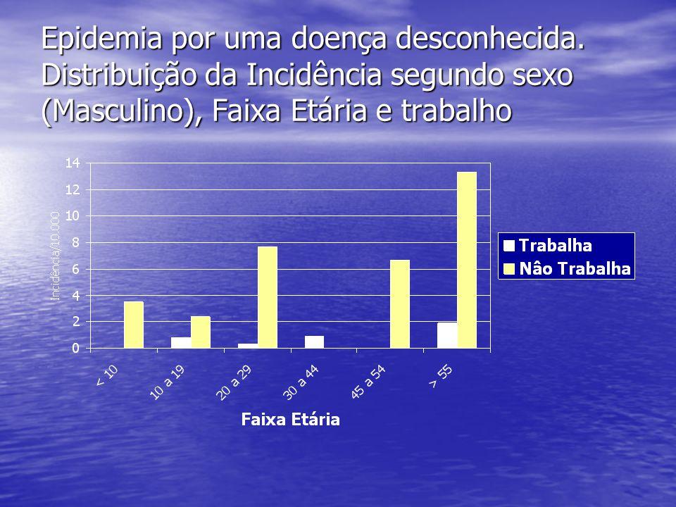 Epidemia por uma doença desconhecida. Distribuição da Incidência segundo sexo (Masculino), Faixa Etária e trabalho