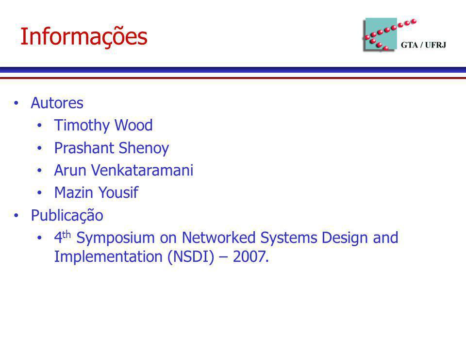 Informações Autores Timothy Wood Prashant Shenoy Arun Venkataramani Mazin Yousif Publicação 4 th Symposium on Networked Systems Design and Implementat