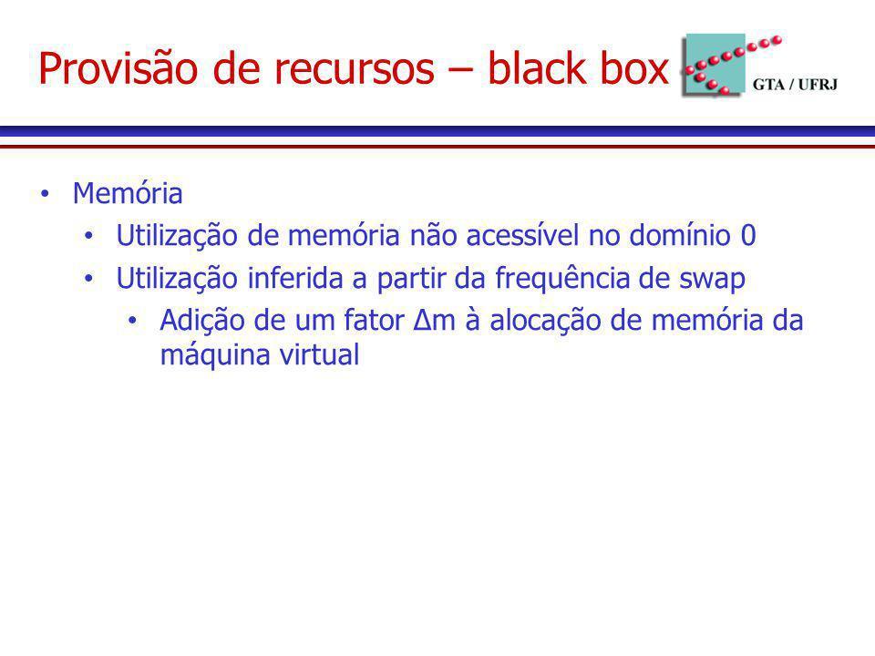 Provisão de recursos – black box Memória Utilização de memória não acessível no domínio 0 Utilização inferida a partir da frequência de swap Adição de