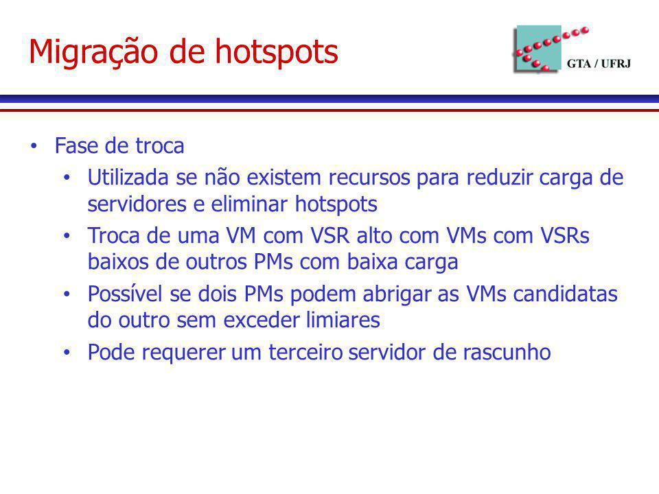 Migração de hotspots Fase de troca Utilizada se não existem recursos para reduzir carga de servidores e eliminar hotspots Troca de uma VM com VSR alto