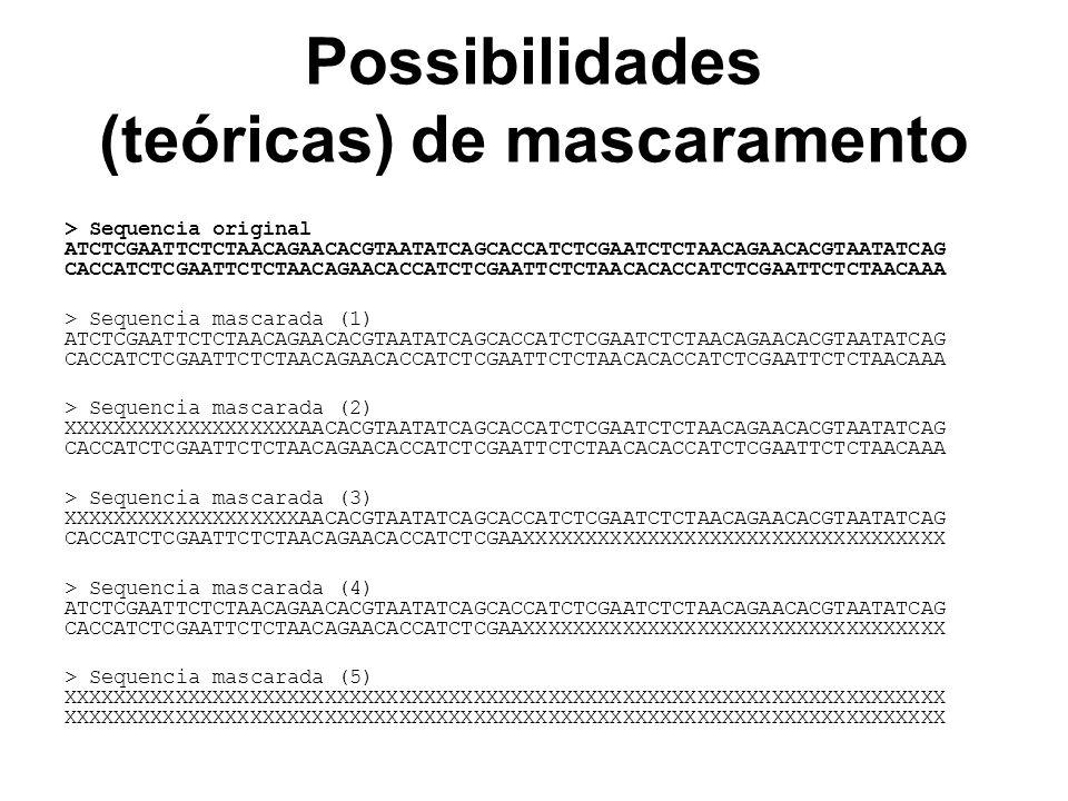 Possibilidades (teóricas) de mascaramento > Sequencia original ATCTCGAATTCTCTAACAGAACACGTAATATCAGCACCATCTCGAATCTCTAACAGAACACGTAATATCAG CACCATCTCGAATTC