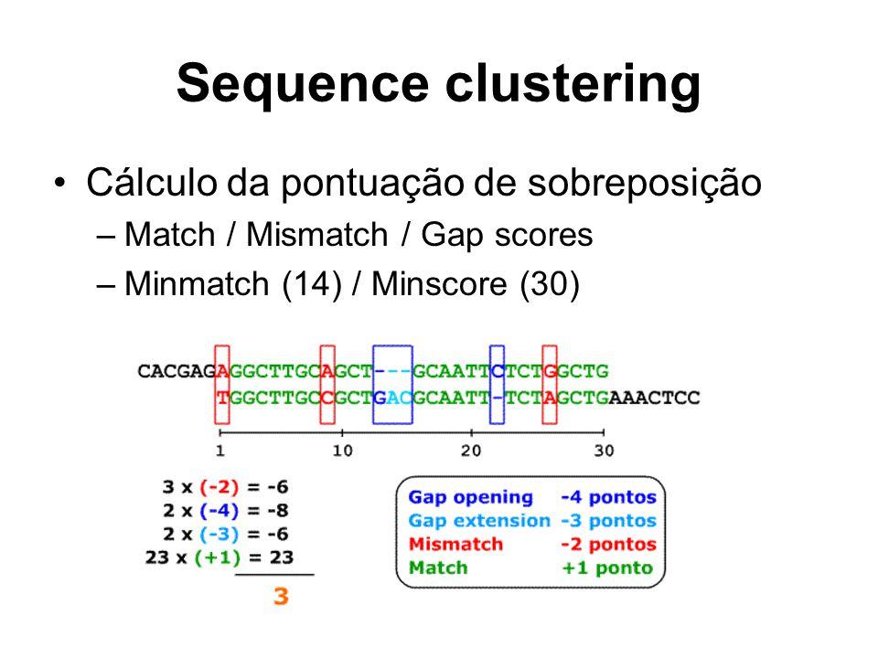Sequence clustering Cálculo da pontuação de sobreposição –Match / Mismatch / Gap scores –Minmatch (14) / Minscore (30)