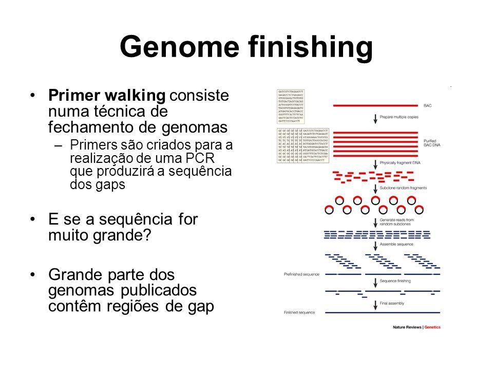 Genome finishing Primer walking consiste numa técnica de fechamento de genomas –Primers são criados para a realização de uma PCR que produzirá a sequê