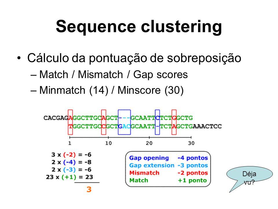 Sequence clustering Cálculo da pontuação de sobreposição –Match / Mismatch / Gap scores –Minmatch (14) / Minscore (30) Déja vu?