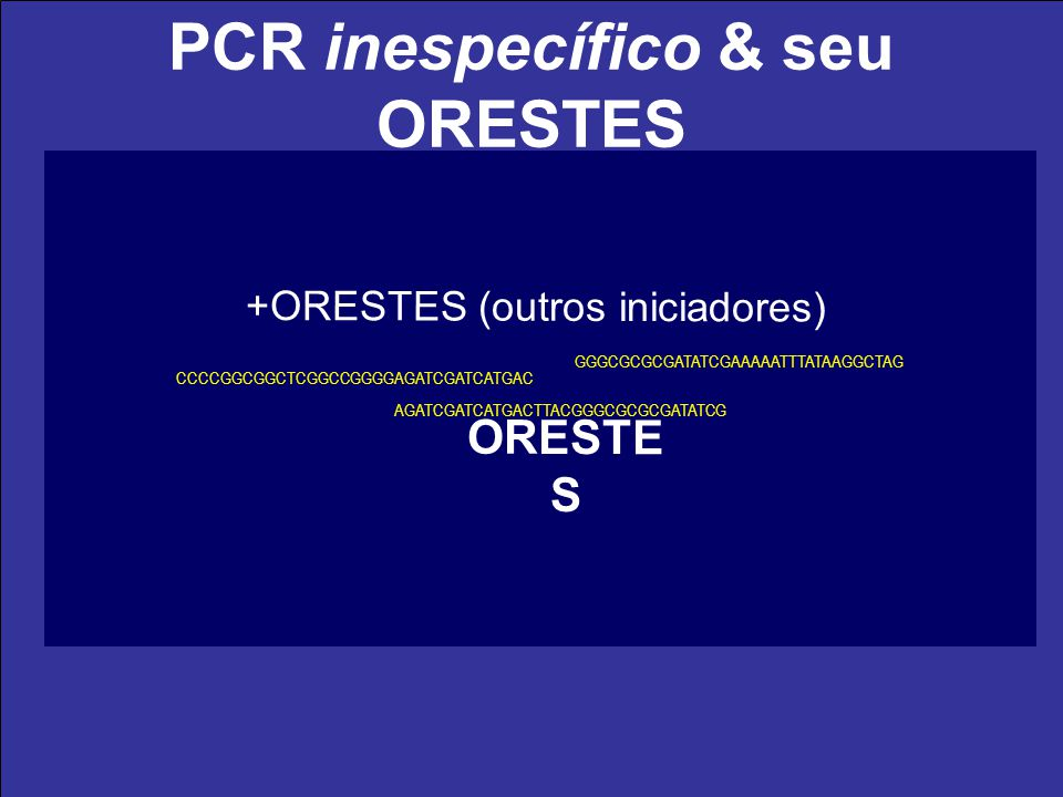 PCR inespecífico & seu ORESTES (A) 200 cDNA (fita -) AUG amplicon (fita +) Iniciador (60ºC 37ºC) amplicon (fita -) amplicon (fita +) PCR (60ºC) ORESTE