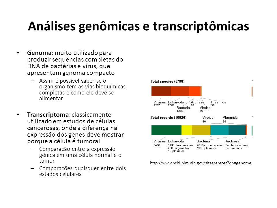 Análises genômicas e transcriptômicas Genoma: muito utilizado para produzir sequências completas do DNA de bactérias e vírus, que apresentam genoma compacto – Assim é possível saber se o organismo tem as vias bioquímicas completas e como ele deve se alimentar Transcriptoma: classicamente utilizado em estudos de células cancerosas, onde a diferença na expressão dos genes deve mostrar porque a célula é tumoral – Comparação entre a expressão gênica em uma célula normal e o tumor – Comparações quaisquer entre dois estados celulares http://www.ncbi.nlm.nih.gov/sites/entrez?db=genome