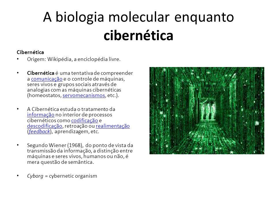 A biologia molecular enquanto cibernética Cibernética Origem: Wikipédia, a enciclopédia livre. Cibernética é uma tentativa de compreender a comunicaçã