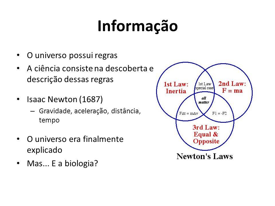 Informação O universo possui regras A ciência consiste na descoberta e descrição dessas regras Isaac Newton (1687) – Gravidade, aceleração, distância,