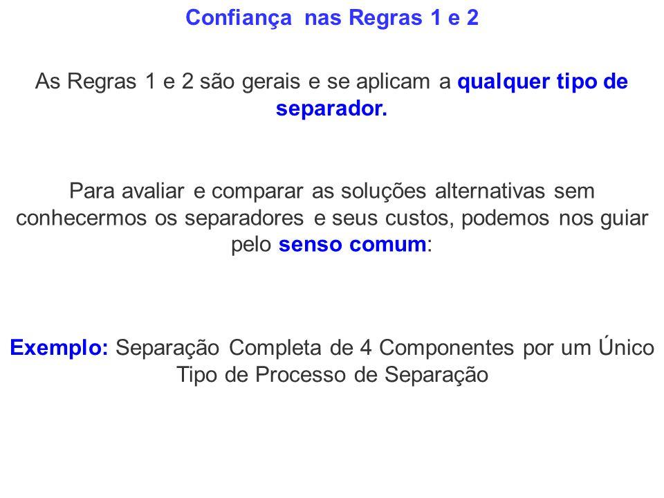 Exemplo: Separação Completa de 4 Componentes por um Único Tipo de Processo de Separação Confiança nas Regras 1 e 2 As Regras 1 e 2 são gerais e se apl