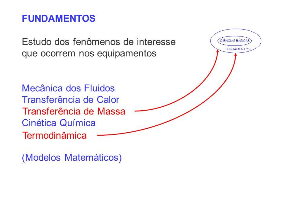 FUNDAMENTOS Estudo dos fenômenos de interesse que ocorrem nos equipamentos Mecânica dos Fluidos Transferência de Calor Cinética Química (Modelos Matem