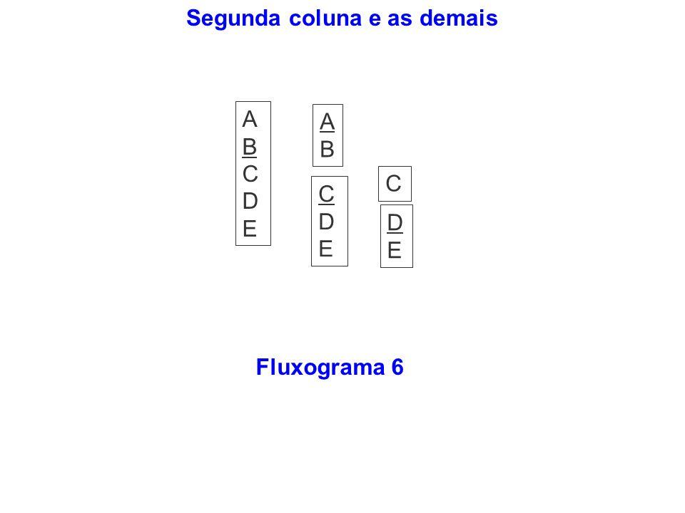 Segunda coluna e as demais Fluxograma 6 ABCDEABCDE ABAB CDECDE DEDE C