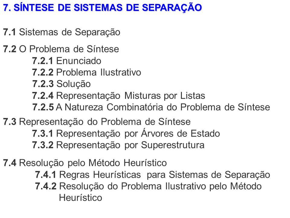 7. SÍNTESE DE SISTEMAS DE SEPARAÇÃO 7.4 Resolução pelo Método Heurístico 7.4.1 Regras Heurísticas para Sistemas de Separação 7.4.2 Resolução do Proble